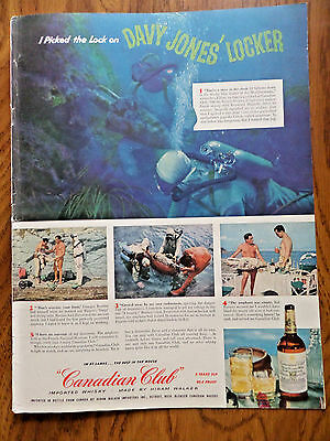 1956 Canadian Club Whiskey Ad Diving Off French Riviera Greek Argosy Treasure