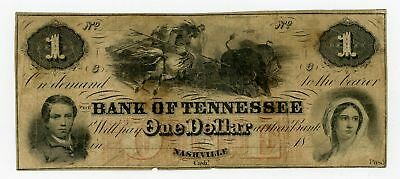 1800's $1 The Bank of TENNESSEE Note w/ INDIAN HUNTING BUFFALO