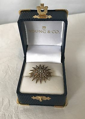 Antique 14k Gold Seed Pearl Star Sun Shaped Brooch Pendant Victorian Estate Find