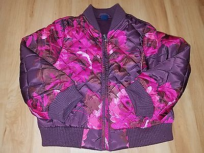 NWOT Baby Gap Toddler Girl Pink Maroon Fuschia Floral Quilted Jacket 3T