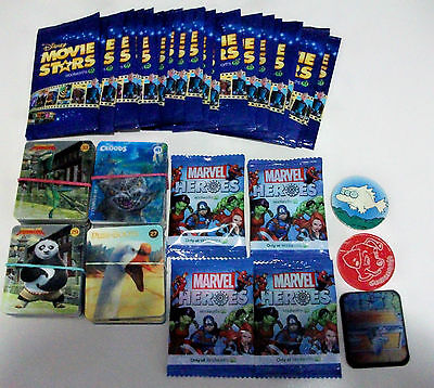 Mixed Lot Of Disney Movie Star Cards Mint, Assorted Disney Heros 3D