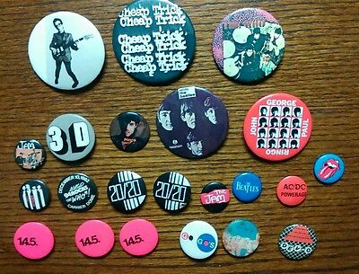 Lot of (22) Vintage Music Bands Pinback Buttons Beatles The Who AC/DC & More
