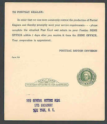 Ca 1920 PC NY GENERAL MOTORS PONTIAC ENGINES REPORT UNMAILED