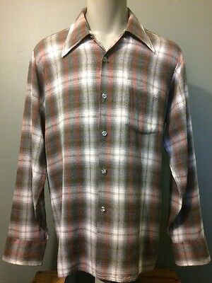 Vtg Arrow Chevella Rayon Shadow Plaid 60s 70s Mens Rockabilly Cotton Shirt VLV L