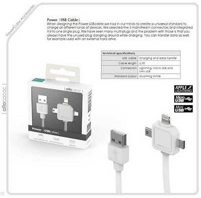 3in1 Power USB Charging Sync Cord Cable White Mico/Mini/Lightning iOS Android
