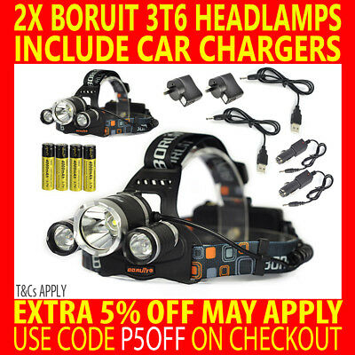 2X Rechargeable Boruit Cree 3T6 13000Lm T6 Xml Led Headlamp Headlight Torch Lamp
