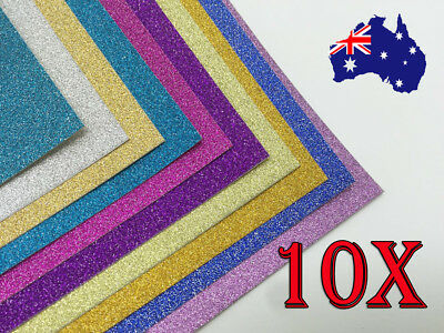 10 X A4 Glitter Cardstock Craft Paper 10 Color Scrapbooking Card Making Craft
