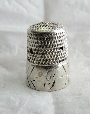 Antique Simons Sterling Silver Sz 9 Thimble Initial G Pin Holes