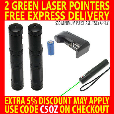 2X RECHARGEABLE GMLITE JD851 10 MILE GREEN LASER POINTER 1mW 532nm LIGHT BEAM