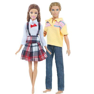 2 Handmade Fashion Outfits T-shirt Pants Casual Clothes For 12 in. Ken Doll Gift