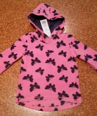 Girls Butterfly Pink Fllece Hooded Jumper, Size 18 - 24 Months, 2 - 3 Years