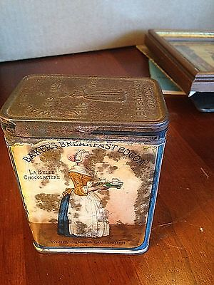 Baker's Breakfast Cocoa old advertising tin, paper wrapping, Walter Baker Co