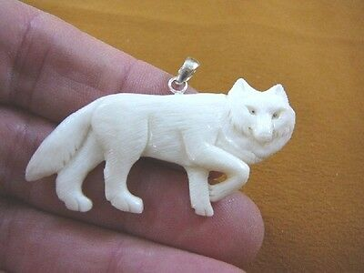 j-wolf-32 White WOLF walk aceh bovine bone carving Wolves pendant JEWELRY coyote