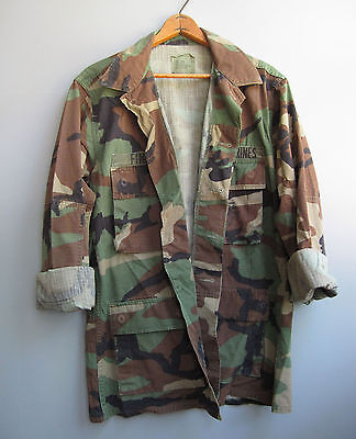 Vintage 90s Camo Jacket Shirt Camouflage Green Military Bdu Woodland Small