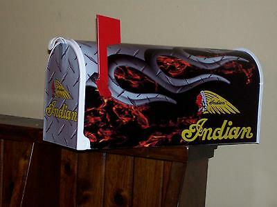 """Indian Chief Motorcycles """"mailbox"""" Flamed W/free Address Harley Also Victory"""