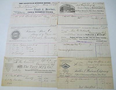 Old Paper from 1885 Assorted Detailed Invoice Lot of 6
