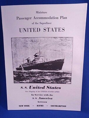 SS UNITED STATES Passenger Accommodation Deck Plan Brochure Original '50s NEW OS