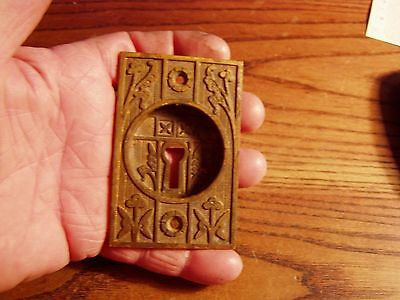 Antique Victorian Eastlake Brass or Bronze Pocket Door Pull with key hole