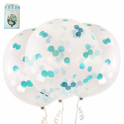 3 Large 45Cm Blue Confetti Balloon Party Clear Latex Helium Baby Shower Birthday
