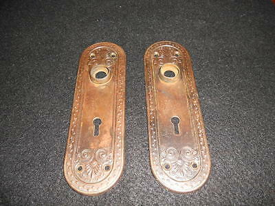 2 Beautiful Antique Ornate Oval Copper Clad Back Plates