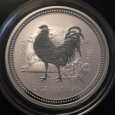 2005 Australian Year Of The Rooster $2 Coin...2 Oz. Silver Scarce Modern!
