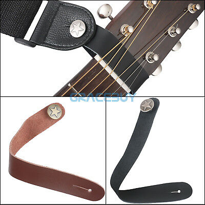 Genuine Leather Folk Classical Accoustic Guitar Button Strap Hook Brown Black