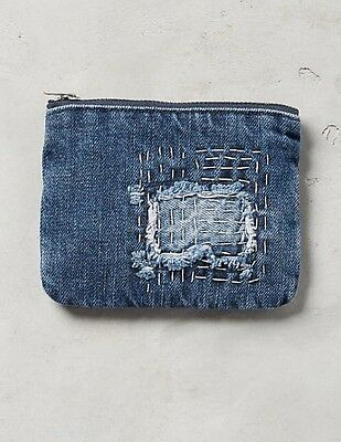 NWT Anthropologie Cloth & Stone Denim Stitched Patchwork Coin Purse Pouch $38