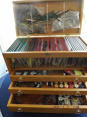 Complete FLY TYING  KIT: Tools, Feathers, Material, Hooks.Over 100 items