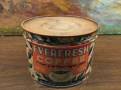 Vintage EVERFRESS 1LB Coffee Tin Can