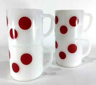 4 NICE Vtg 50s Retro FEDERAL Milk GLASS Red POLKA Dots COFFEE Tea D MUGS Cups NM