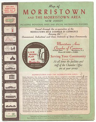vintage Morristown New Jersey map 1950's; ads for 75 local businesses; insets