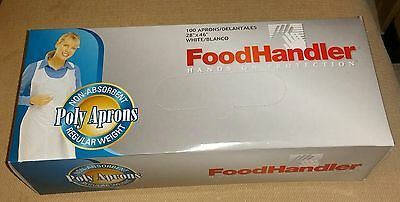 Disposable White Poly Aprons 1 Box (100 Count) FoodHandler