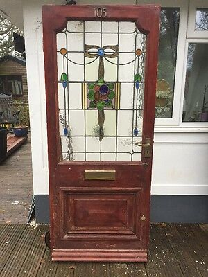 Victorian Nouveau Stained Glass Front Door Wooden Reclaimed Old Antique Leaded