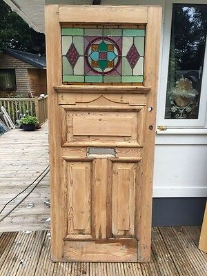 LARGE VICTORIAN STAINED GLASS FRONT DOOR OLD WOOD RECLAIMED PERIOD ANTIQUE 1900s