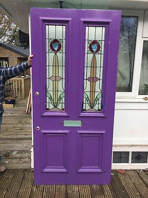 V Large Victorian Stained Glass Front Door Hardwood Reclaimed Old Period Antique