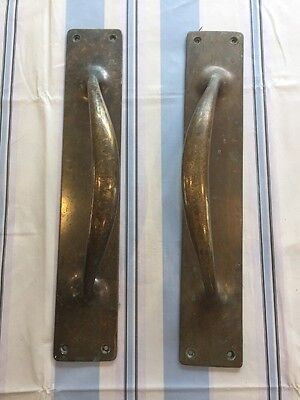 Large Victorian Brass Door Handles Pull Push Antique Old Period Art Nouveau.