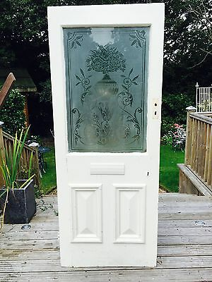 L Victorian E Edwardian Front Door Reclaimed Old Period Etched Glass Antique