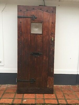 Large Solid Oak Front Door Period Wood Reclaimed Rustic Antique 1900 Old Iron