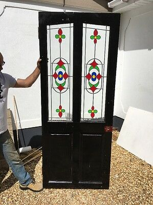 Victorian Style Front Door Period Old Reclaimed Antique Wood Coloured Glass Wood