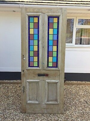 Large Stained Glass Victorian Front Door Period Old Reclaimed Antique Wood Lead