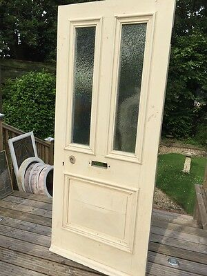 LARGE VICTORIAN FRONT DOOR WOOD RECLAIMED PERIOD OLD ANTIQUE C1870s GLAZED
