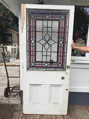 Large Victorian Stained Glass Front Door Wood Reclaimed Old Period Antique Lead