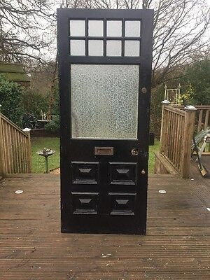 VICTORIAN FRONT DOOR ETCHED GLASS PERIOD WOOD RECLAIMED ANTIQUE 1900s OLD WOODEN