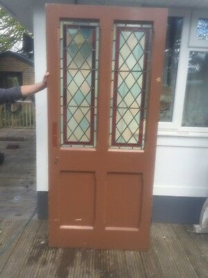 Large Victorian Stained Glass Front Door Wood Reclaimed Old Period Antique Pine