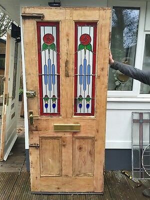 Victorian Stained Glass Front Door Period Old Reclaimed Antique Leaded Wooden