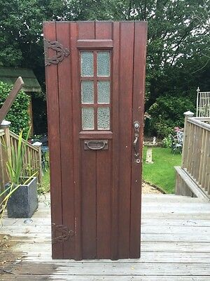 Solid Oak Front Door Period Wood Reclaimed Antique Old Arts Crafts Glazed