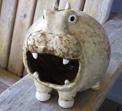 Vintage Art Pottery Hippo Character Sculpture Mid Century Modern Candle Holder