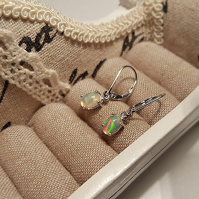 Coober Pedy Opal leverback earrings set in platinum over Sterling Silver