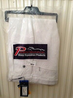 New Shires Mens White Performance Competion Breeches Jodhpurs Size 38 RRP £59.99