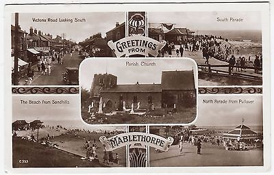 GREETINGS FROM MABLETHORPE - Multi View - 1931 Lincolnshire Real Photo postcard